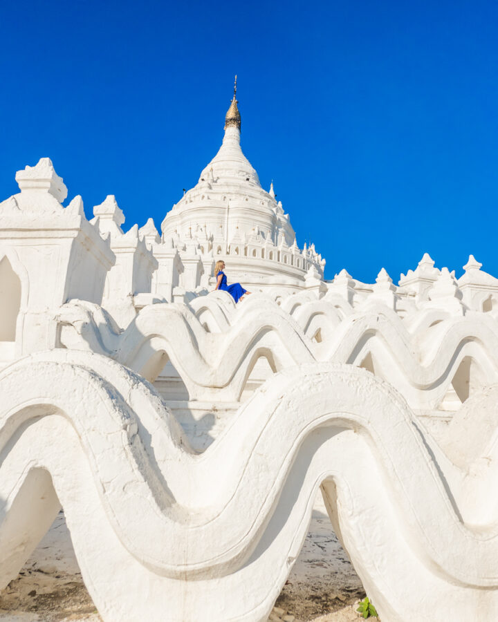 View of the white wave architectural detail at the White Temple in Myanmar.