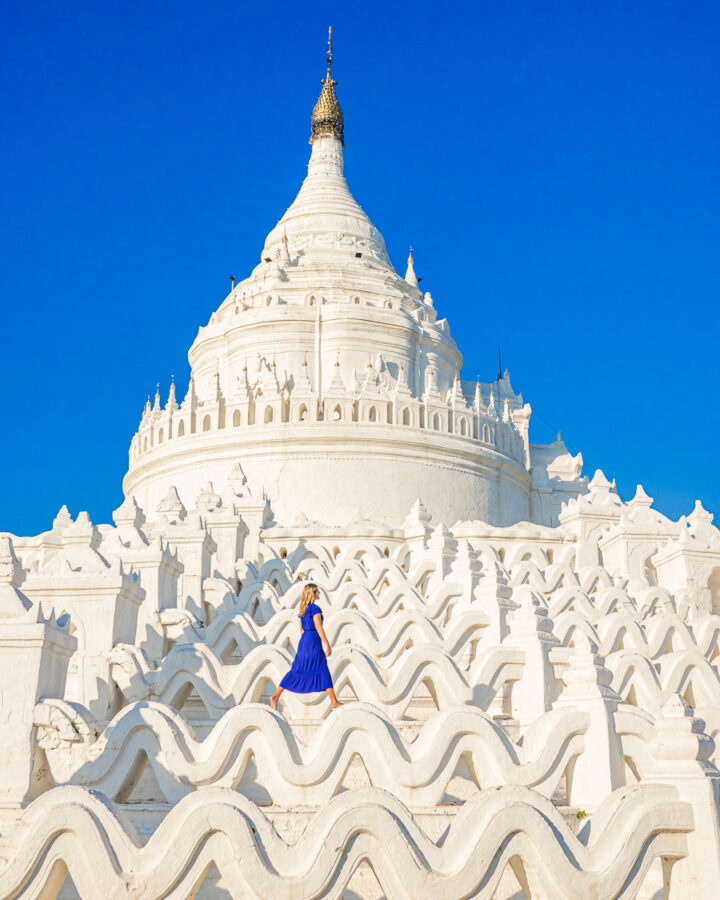 Seven levels of white waves at the White Temple in Myanmar.