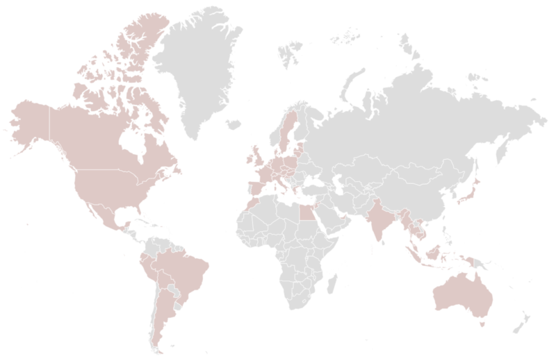 Pink and Gray World Travel Map