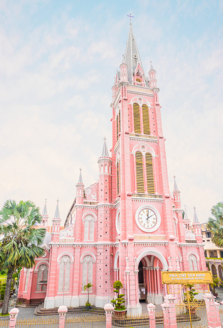 The Pink Church of Ho Chi MInh | visiting ho chi minh traveling to vietnam