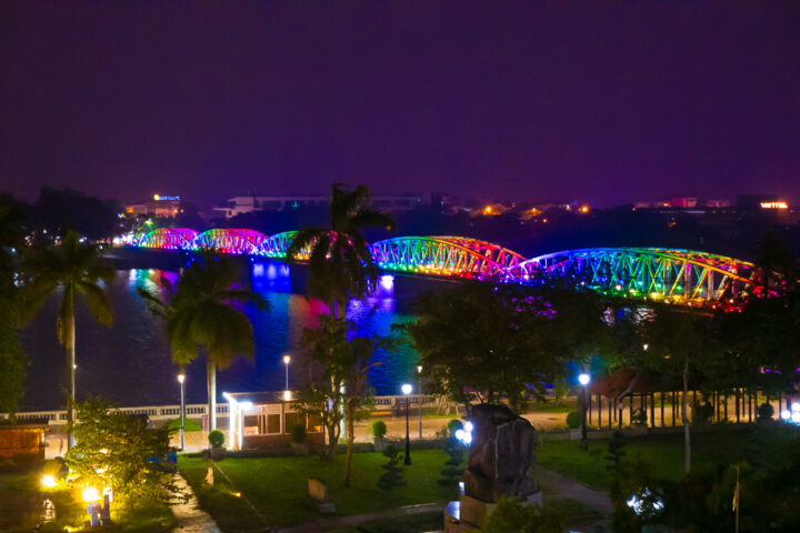 lighted bridge in hue, vietnam