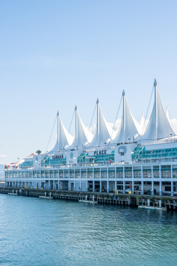 Iconic white sails of Canada Place over the water