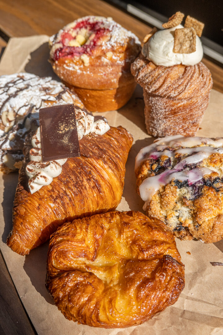 assortment of croissants and pastries