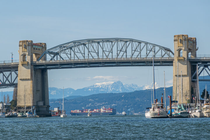 Granville Bridge with mountains in background