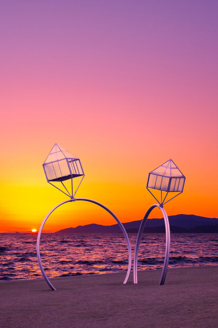 Engagement rings sculpture at sunset