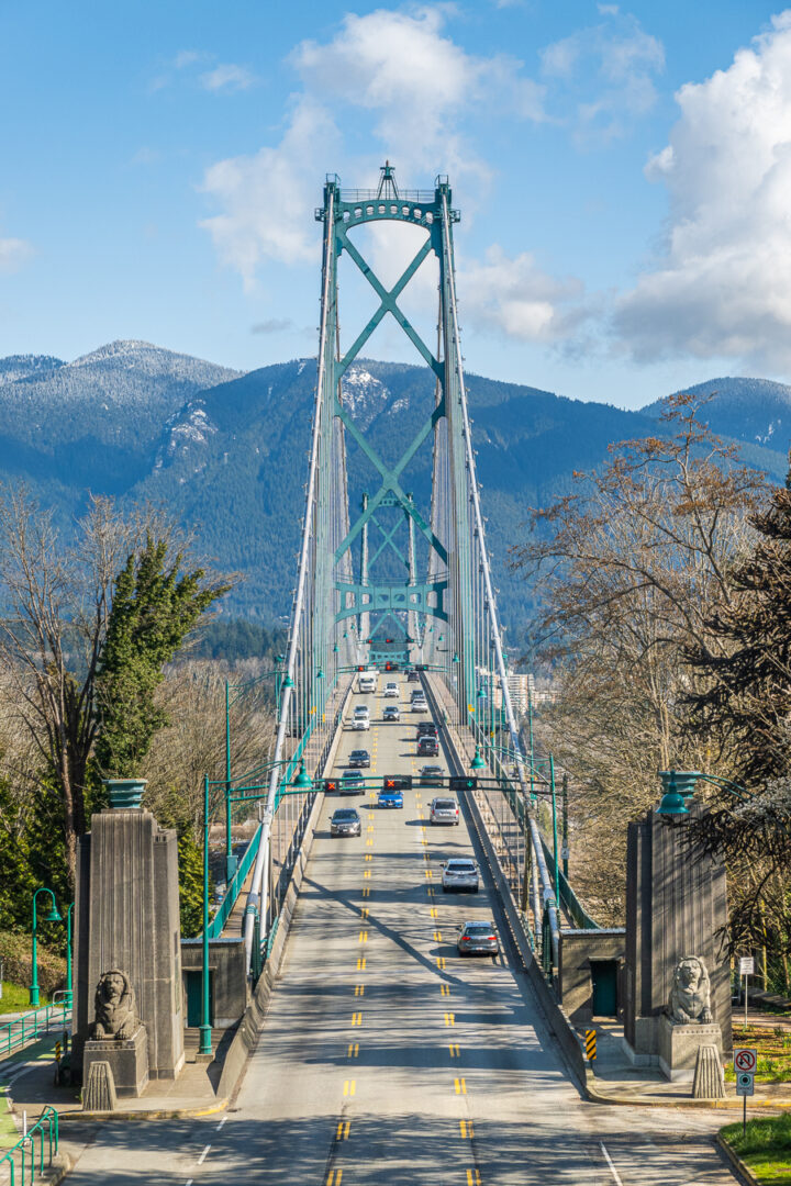 Straight on View of Lions Gate Bridge