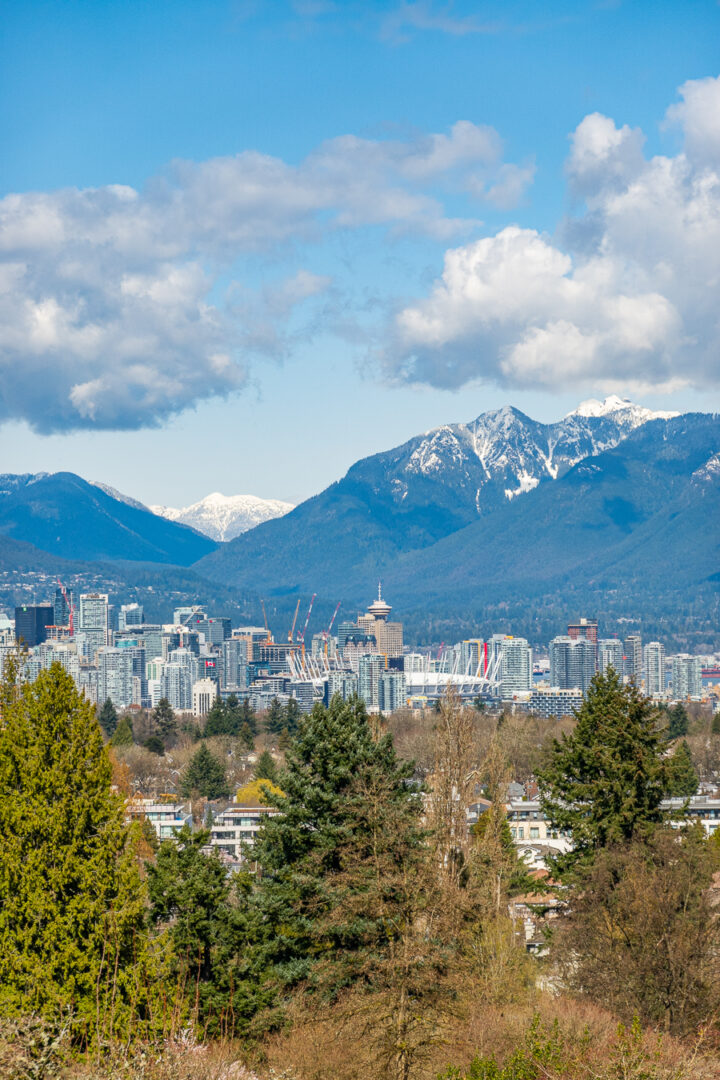 Vancouver Skyline with snowcapped mountains in background