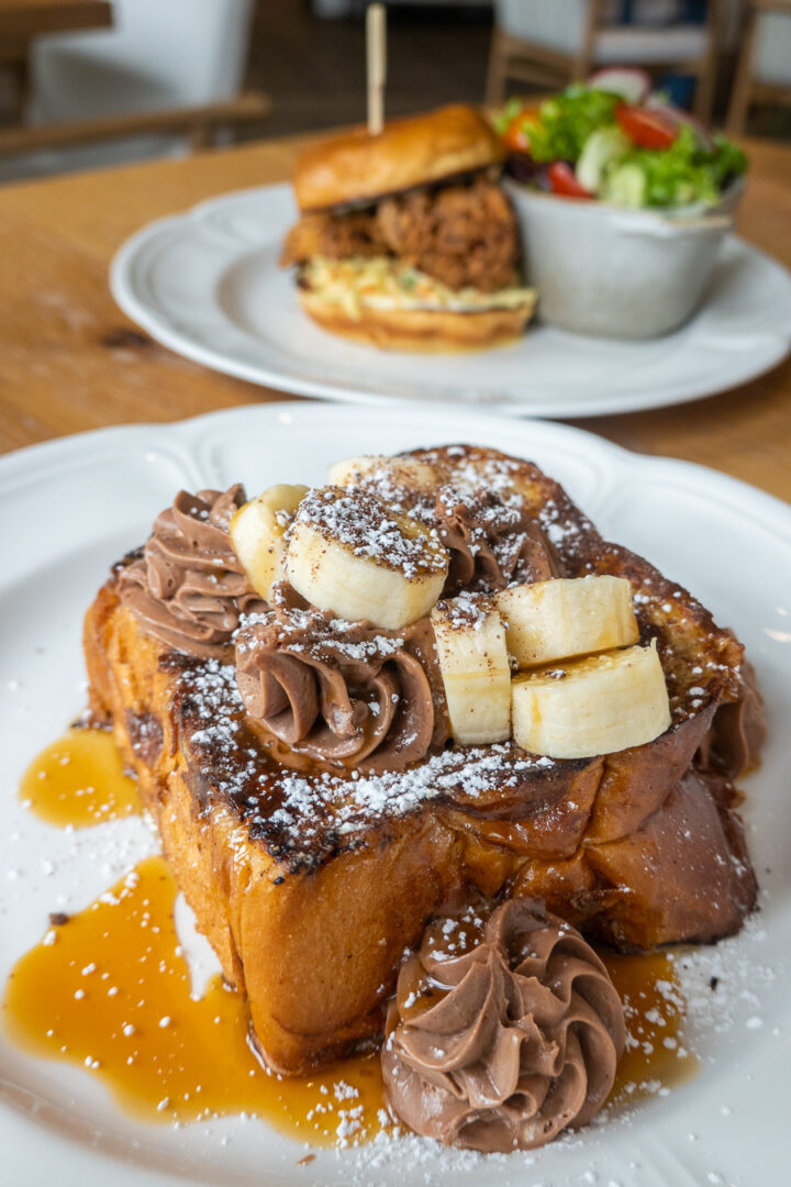 nutella french toast with nutella and bananas on top