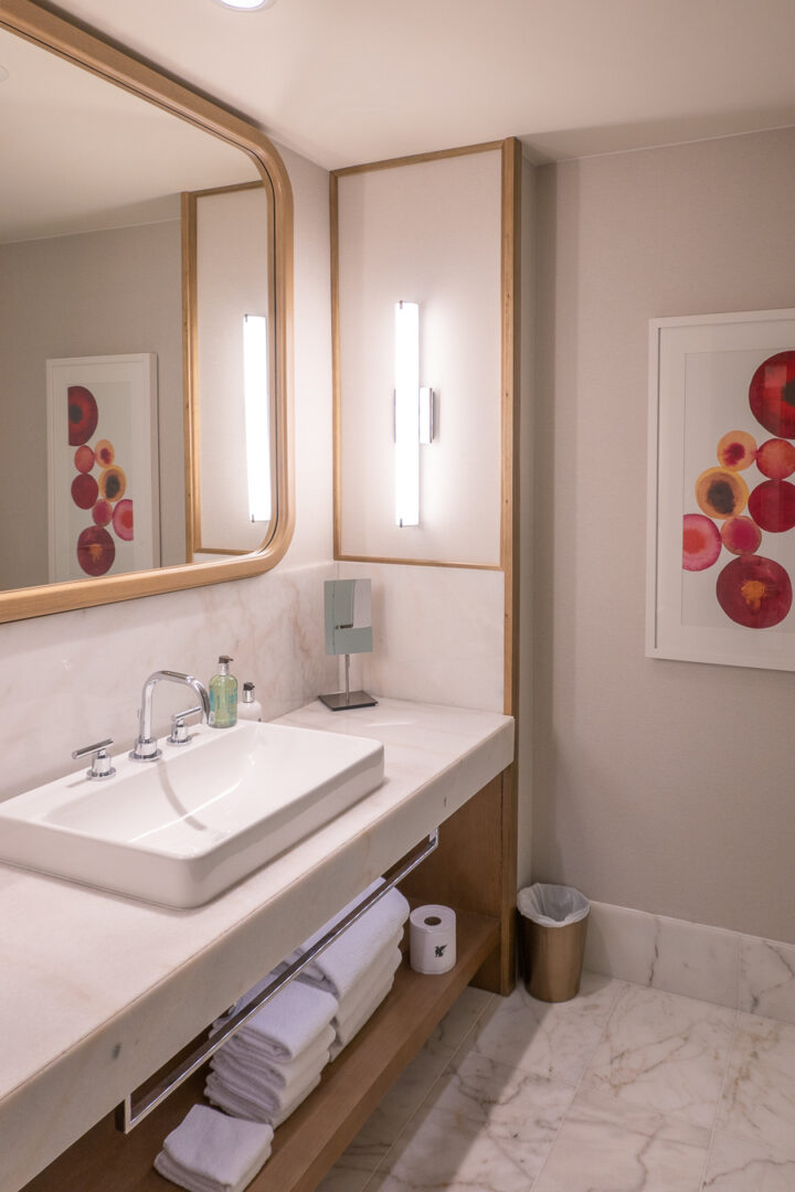 hotel bathroom with counterspace