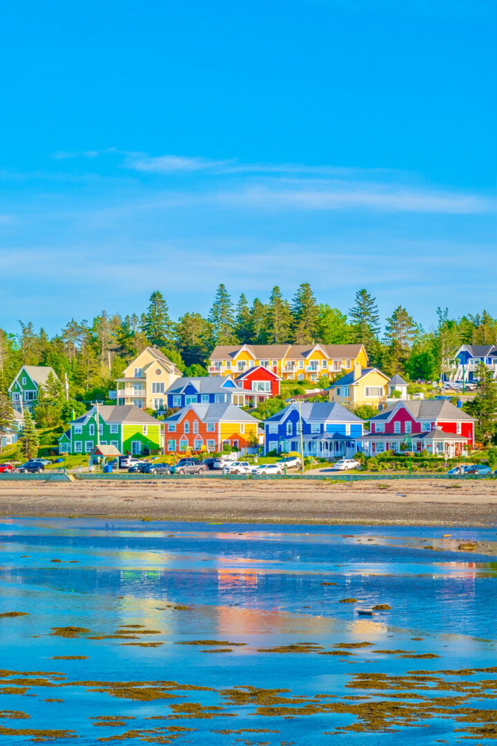 colorful houses on the beach in sainte-luce