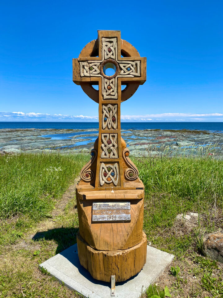 celtic cross on the beach in sainte-luce