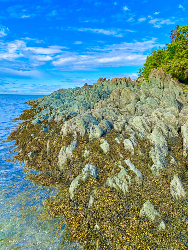 rock formations on the beach at Bic National Park in Gaspesie
