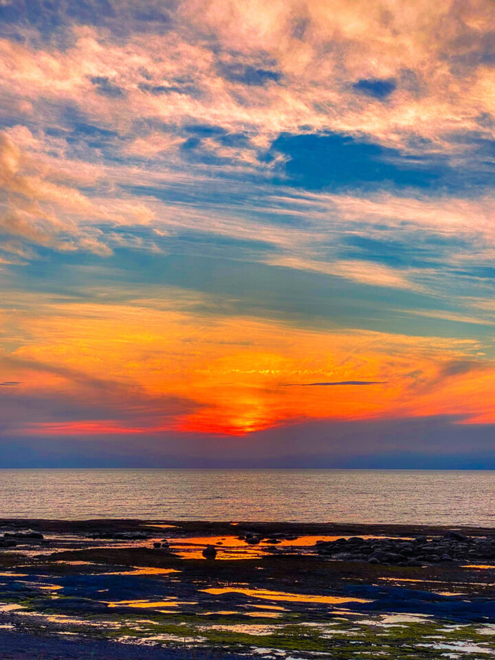 sunset over the Saint Lawrence River in Gaspesie