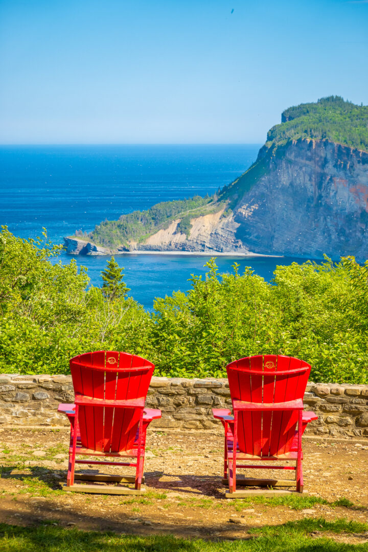 Red Chairs at Forillon National Park in Gaspesie
