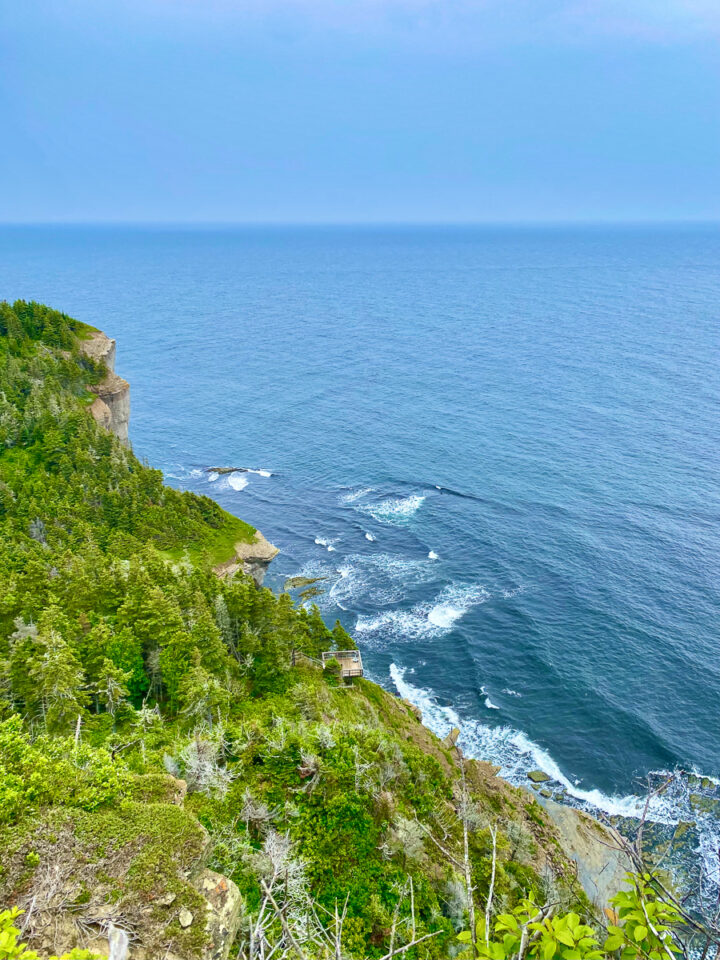 View of the cliffs on the Cap Gaspe hike in Forillon National Park