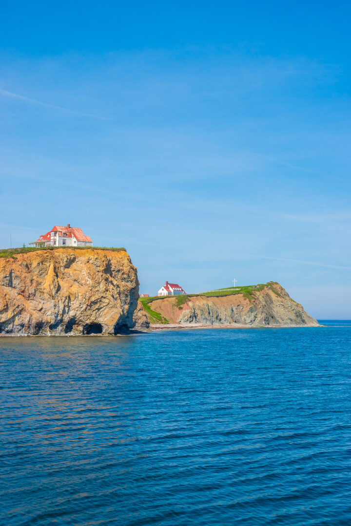 houses on the cliffs in Perce, Quebec