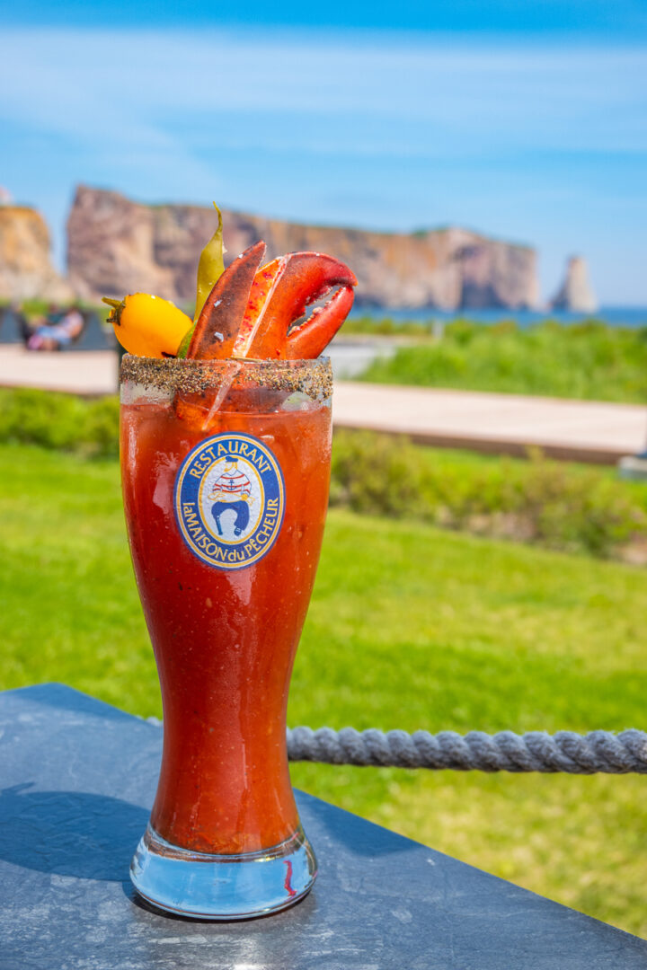 Lobster claw bloody mary in Perce, Quebec