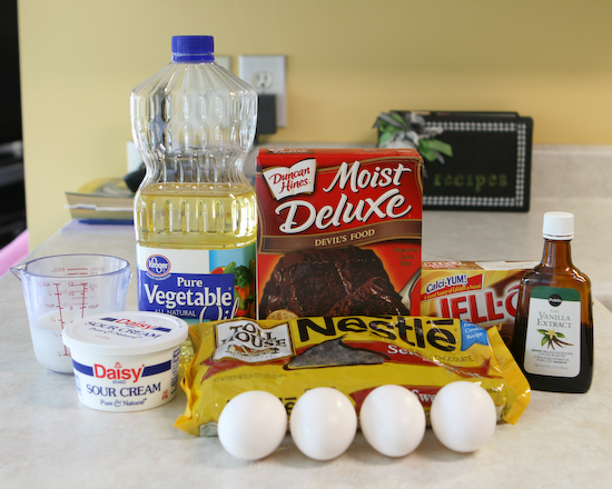 Ingredients for the BEST Chocolate Cake Recipe Ever
