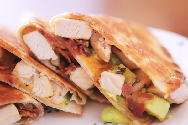 Cheesy Chicken, Bacon, & Avocado Quesadillas