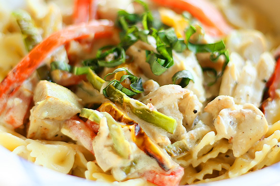 Colorful Chicken Alfredo Farfalle with sweet bell peppers and fresh basil